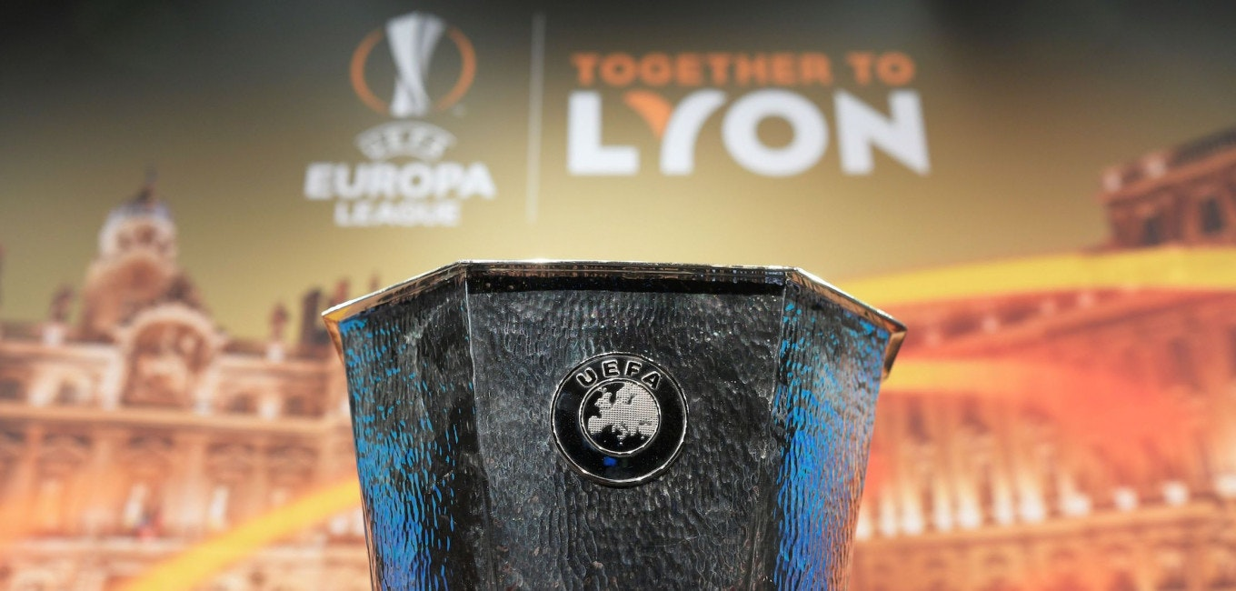 The Europa League trophy is displayed prior to the draw for the round of 32 of the UEFA Europa League football tournament at the UEFA headquarters in Nyon on December 11, 2017. / AFP PHOTO / Fabrice COFFRINI        (Photo credit should read FABRICE COFFRINI/AFP/Getty Images)