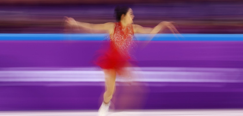 GANGNEUNG, SOUTH KOREA - FEBRUARY 12:  Mirai Nagasu of the United States skates during the Ladies Single Skating Free Skating section of the Team Event on day three of the PyeongChang 2018 Winter Olympic Games at Gangneung Ice Arena on February 12, 2018 in Gangneung, South Korea.  (Photo by Robert Cianflone/Getty Images)