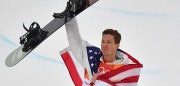US Shaun White celebrates on the podium during the victory ceremony after the final of the men's snowboard halfpipe at the Phoenix Park during the Pyeongchang 2018 Winter Olympic Games on February 14, 2018 in Pyeongchang.  / AFP PHOTO / Martin BUREAU        (Photo credit should read MARTIN BUREAU/AFP/Getty Images)