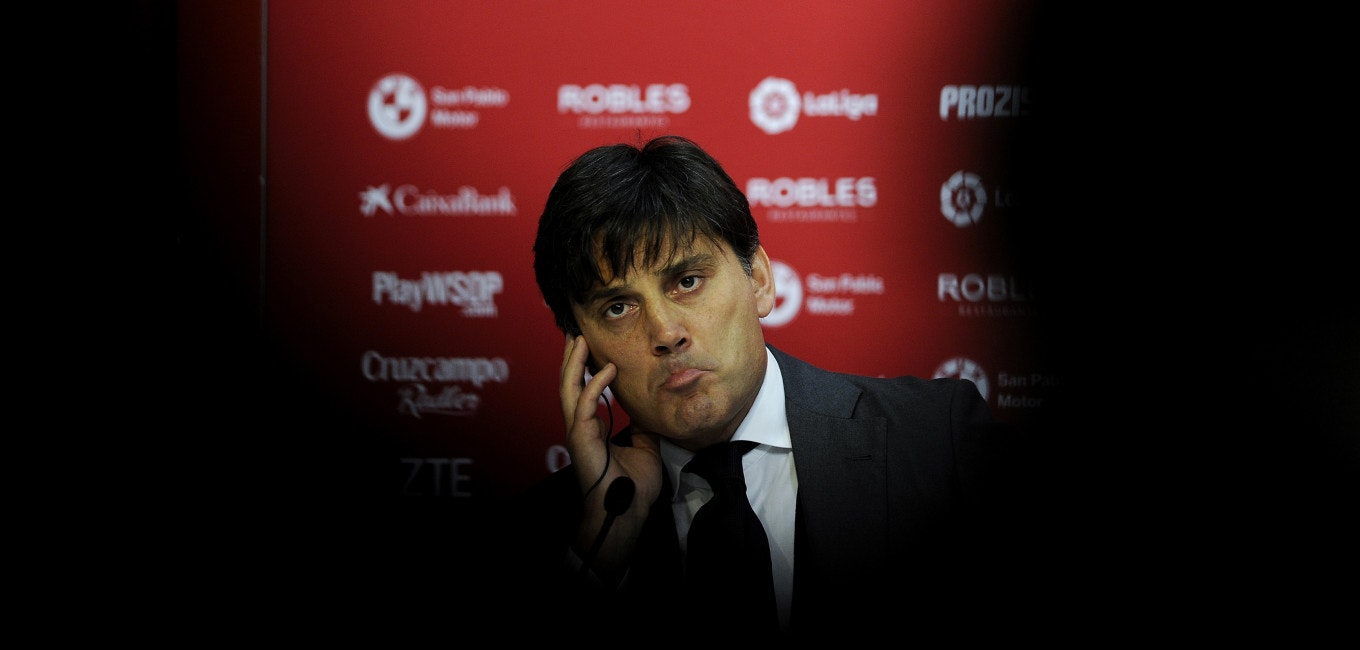 Sevilla's new Italian coach Vincenzo Montella holds a press conference during his official presentation as the Spanish club's coach at the Sanchez Pizjuam Stadium in Sevilla on December 30, 2017. / AFP PHOTO / CRISTINA QUICLER        (Photo credit should read CRISTINA QUICLER/AFP/Getty Images)