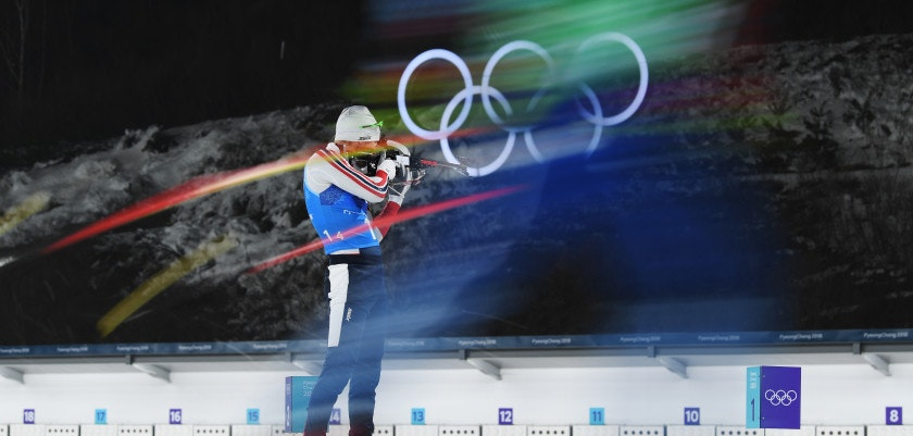 PYEONGCHANG-GUN, SOUTH KOREA - FEBRUARY 23:  Emil Hegle Svendsen of Norway shoots prior to the Men's 4x7.5km Biathlon Relay on day 14 of the PyeongChang 2018 Winter Olympic Games at Alpensia Biathlon Centre on February 23, 2018 in Pyeongchang-gun, South Korea.  (Photo by Matthias Hangst/Getty Images)