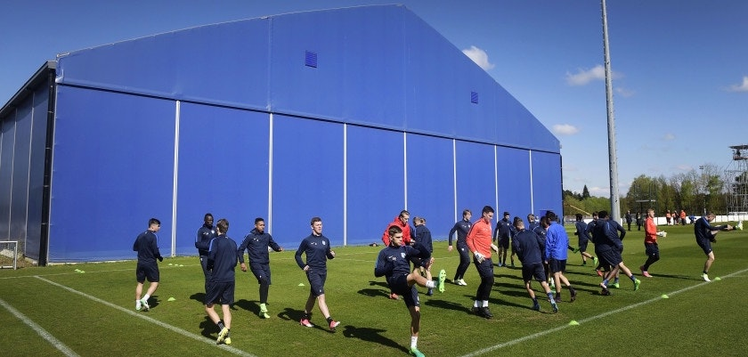 Genk's players take part in a training session in Genk on April 19, 2017 on the eve of their UEFA Europa League quarter-final football match against Celta Vigo. / AFP PHOTO / Belga / YORICK JANSENS / Belgium OUT        (Photo credit should read YORICK JANSENS/AFP/Getty Images)
