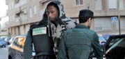 Villarreal's Portuguese defender Ruben Semedo arrives escorted by Spanish Guardia Civil guards at the couthouse in Lliria, on February 22, 2018.  Semedo was arrested on February 20, 2018 on suspicion of holding somebody against their will and causing injury, a source close to the investigation told AFP. It is not the first time Portuguese under-21 international Semedo has been in trouble with police since signing for Villarreal from Sporting Lisbon prior to this season. He was arrested in November following an alleged altercation at a nightclub, for which he is awaiting trial.  / AFP PHOTO / STRINGER        (Photo credit should read STRINGER/AFP/Getty Images)