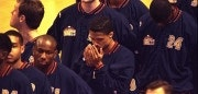 15 Mar 1996: Point guard Mahmoud Abdul-Rauf of the Denver Nuggets stands in prayer during the singing of the National Anthem before the Nuggets game against the Chicago Bulls at the United Center in Chicago, Illinois. Abdul-Rauf came to an agreement with