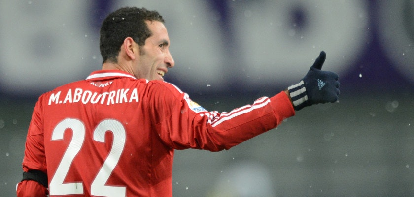 Egypt's Al-Ahly forward Mohamed Aboutrika reacts with joy after scoring a goal against Japan's San Frecce Hiroshima during their 2012 Club World Cup quarter-final football match in Toyota on December 9, 2012. Al-Ahly won the match 2-1.    AFP PHOTO/Toru YAMANAKA        (Photo credit should read TORU YAMANAKA/AFP/Getty Images)