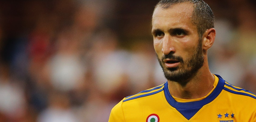 Juventus' defender Giorgio Chiellini looks on during the Italian Serie A football match Genoa v Juventus at The Luigi Ferraris Stadium in Genoa on August 26, 2017. / AFP PHOTO / Marco BERTORELLO        (Photo credit should read MARCO BERTORELLO/AFP/Getty Images)