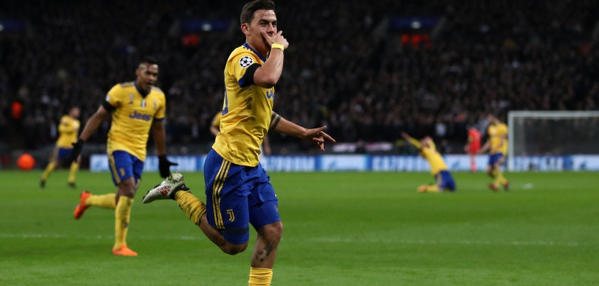 LONDON, ENGLAND - MARCH 07: Paulo Dybala of Juventus celebrates after scoring his team's second goal during the UEFA Champions League Round of 16 Second Leg match between Tottenham Hotspur and Juventus at Wembley Stadium on March 7, 2018 in London, United Kingdom. (Photo by Catherine Ivill/Getty Images)