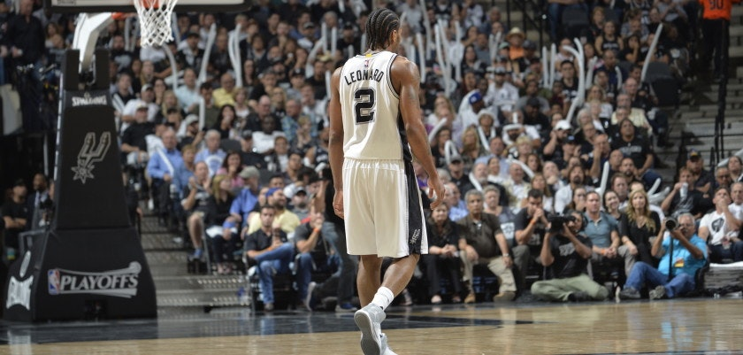 SAN ANTONIO, TX - APRIL 17: Kawhi Leonard #2 of the San Antonio Spurs is seen against the Memphis Grizzlies during Game Two of the Western Conference Quarterfinals of the 2017 NBA Playoffs on April 17, 2017 AT&T Center in San Antonio, Texas. NOTE TO USER: User expressly acknowledges and agrees that, by downloading and or using this photograph, user is consenting to the terms and conditions of the Getty Images License Agreement. Mandatory Copyright Notice: Copyright 2017 NBAE (Photos by Mark Sobhani/NBAE via Getty Images)