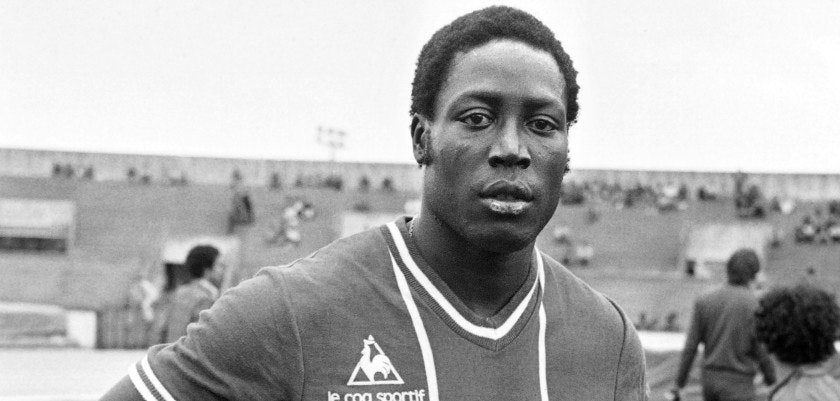 PARIS, FRANCE - JULY 26:  Jean-Pierre Adams, french footballer, photography on July 26, 1977 in Paris on the grounds of Paris St. Germain. Adams, 22 caps for France A, between 1972 and 1976, is not on 10 March 1948 to Dakar. On the occasion of a mild knee operation, Jean-Pierre Adams falls into a long and deep coma on March 17, 1982 due to an error of anesthesia. This long coma is still ongoing in 2010.   AFP PHOTO / AFP  (Photo by AFP/Getty Images)