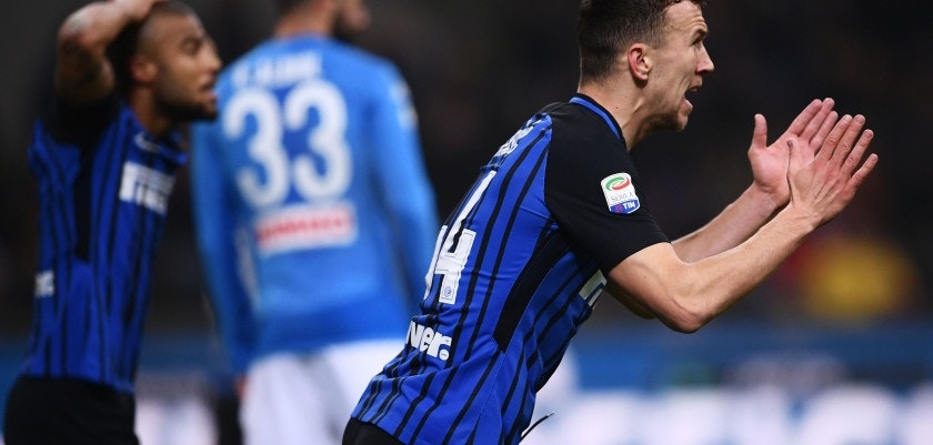 Inter Milan's Croatian forward Ivan Perisic reacts during the Italian Serie A football match Inter Milan vs Napoli on March 11, 2018 at the San Siro stadium in Milan. / AFP PHOTO / MARCO BERTORELLO        (Photo credit should read MARCO BERTORELLO/AFP/Getty Images)