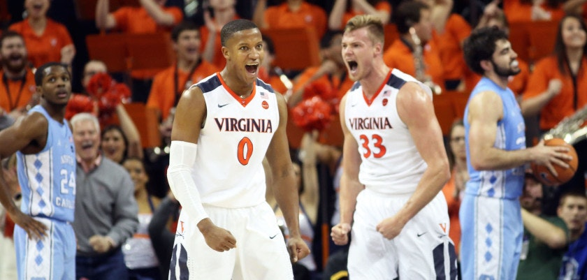 CHARLOTTESVILLE, VA - JANUARY 6: Devon Hall #0 and Jack Salt #33 of the Virginia Cavaliers react to a foul call in the first half during a game against the North Carolina Tar Heels at John Paul Jones Arena on January 6, 2018 in Charlottesville, Virginia. (Photo by Ryan M. Kelly/Getty Images)