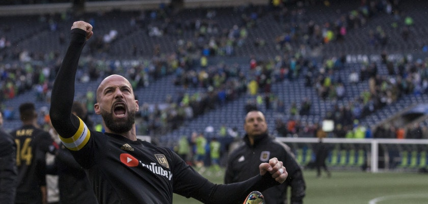 SEATTLE, WA - MARCH 4: Laurent Ciman #23 of Los Angeles FC celebrates after a match against the Seattle Sounders at CenturyLink Field on March 4, 2018 in Seattle, Washington. Los Angeles FC won 1-0. (Photo by Stephen Brashear/Getty Images)