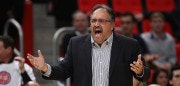 DETROIT, MI - NOVEMBER 10: Head coach Stan Van Gundy of the Detroit Pistons reacts on the bench while playing the Atlanta Hawks at Little Caesars Arena on November 10, 2017 in Detroit, Michigan. Detroit won the game 111-104. NOTE TO USER: User expressly acknowledges and agrees that, by downloading and or using this photograph, User is consenting to the terms and conditions of the Getty Images License Agreement. (Photo by Gregory Shamus/Getty Images)