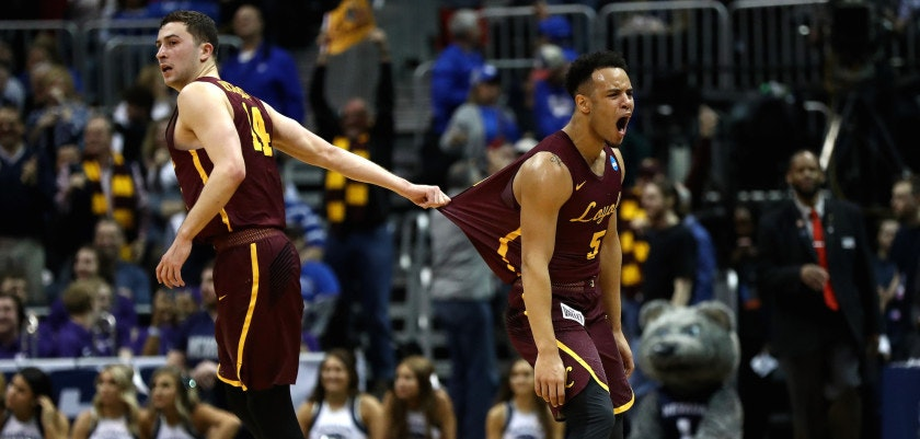 ATLANTA, GA - MARCH 22:  Marques Townes #5 of the Loyola Ramblers reacts after making a three point basket late in the second half against the Nevada Wolf Pack during the 2018 NCAA Men's Basketball Tournament South Regional at Philips Arena on March 22, 2018 in Atlanta, Georgia.  (Photo by Ronald Martinez/Getty Images)