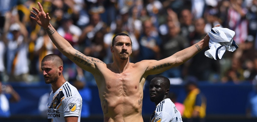 CARSON, CA - MARCH 31:    Zlatan Ibrahimovic #9 of Los Angeles Galaxy celebrates after scoring a goal in the second half of the game against the Los Angeles FC at StubHub Center on March 31, 2018 in Carson, California.  (Photo by Jayne Kamin-Oncea/Getty Images)