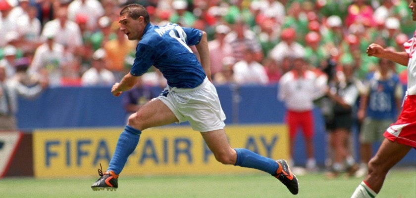 28 JUN 1994:  DANIELE MASSARO SCORES THE FIRST GOAL FOR ITALY AGAINST MEXICO DURING THEIR 1994  WORLD CUP MATCH AT RFK STADIUM IN WASHINGTON DC.     Mandatory Credit: Rick Stewart/ALLSPORT