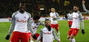 DORTMUND, GERMANY - MARCH 08: Valon Berisha of Red Bull Salzburg (C) celebrates with team mates as he scores their second goal during the UEFA Europa League Round of 16 match between Borussia Dortmund and FC Red Bull Salzburg at the Signal Iduna Park on March 8, 2018 in Dortmund, Germany. (Photo by Maja Hitij/Bongarts/Getty Images)