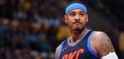 LOS ANGELES, CA - JANUARY 3:  Carmelo Anthony #7 of the Oklahoma City Thunder looks on during the game against the Los Angeles Lakers on January 3, 2018 at STAPLES Center in Los Angeles, California. NOTE TO USER: User expressly acknowledges and agrees that, by downloading and/or using this Photograph, user is consenting to the terms and conditions of the Getty Images License Agreement. Mandatory Copyright Notice: Copyright 2018 NBAE (Photo by Andrew D. Bernstein/NBAE via Getty Images)