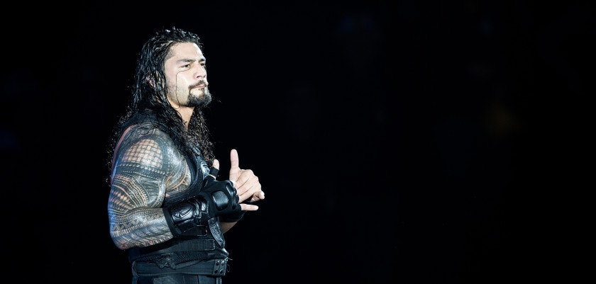 DUESSELDORF, GERMANY - FEBRUARY 22: Roman Reigns reacts during to the WWE Live Duesseldorf event at ISS Dome on February 22, 2017 in Duesseldorf, Germany. (Photo by Lukas Schulze/Bongarts/Getty Images)
