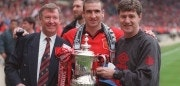 11 May 1996:  Eric Cantona, Alex Ferguson and Bryan Kidd with the trophy after Man Utd's victory over Liverpool in the 1996 FA Cup Final between Manchester United v Liverpool at Wembley Stadium, London. Mandatory Credit: Clive Brunskill/ALLSPORT