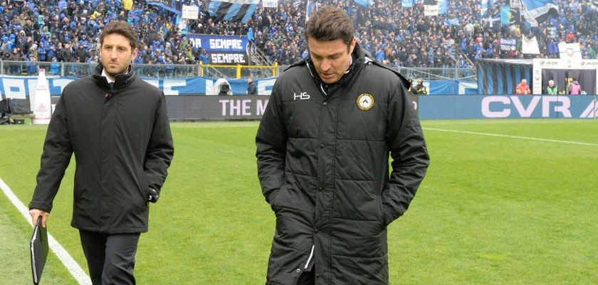 BERGAMO, ITALY - MARCH 31: Head coach of Udinese Massimo Oddo looks on during the serie A match between Atalanta BC and Udinese Calcio at Stadio Atleti Azzurri d'Italia on March 31, 2018 in Bergamo, Italy. (Photo by Dino Panato/Getty Images)