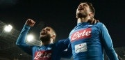 TOPSHOT - Napoli's Italian striker Lorenzo Insigne (L) and Napoli's Belgian striker Dries Mertens celebrate at the end of the Italian Serie A football match SSC Napoli vs Genoa CFC on March 18, 2018 at the San Paolo Stadium. / AFP PHOTO / CARLO HERMANN        (Photo credit should read CARLO HERMANN/AFP/Getty Images)