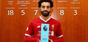 LIVERPOOL, ENGLAND - APRIL 12:  Mohamed Salah of Liverpool is Awarded with the EA SPORTS Player of the Month for March at Melwood Training Ground on April 12, 2018 in Liverpool, England.  (Photo by Alex Livesey/Getty Images)