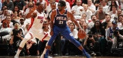 MIAMI, FL - APRIL 19:  Joel Embiid #21 of the Philadelphia 76ers handles the ball against Bam Adebayo #13 of the Miami Heat in Game Three of Round One of the 2018 NBA Playoffs on April 19, 2018 at American Airlines Arena in Miami, Florida. NOTE TO USER: User expressly acknowledges and agrees that, by downloading and or using this Photograph, user is consenting to the terms and conditions of the Getty Images License Agreement. Mandatory Copyright Notice: Copyright 2018 NBAE (Photo by Issac Baldizon/NBAE via Getty Images)