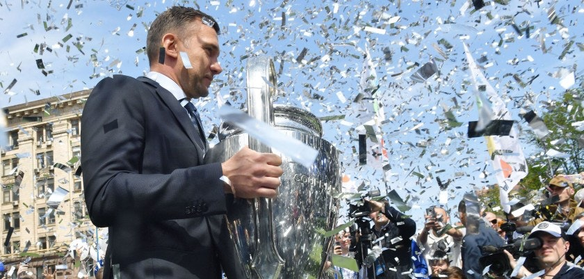 Former Ukrainian footballer and ambassador for the UEFA Champions League final in Kiev Andriy Shevchenko poses with the trophy during a  ceremony at Independence Square in Kiev on April 21, 2018. - The 2018 UEFA Champions League Final will be played at the NSC Olimpiyskiy Stadium in Kiev, Ukraine on May 26,  2018, and the  2017/18 UEFA Women's Champions League final will be played in Kiev at Valeriy Lobanovskiy Dynamo Stadium on 24 May, 2018. (Photo by Sergei SUPINSKY / AFP)        (Photo credit should read SERGEI SUPINSKY/AFP/Getty Images)