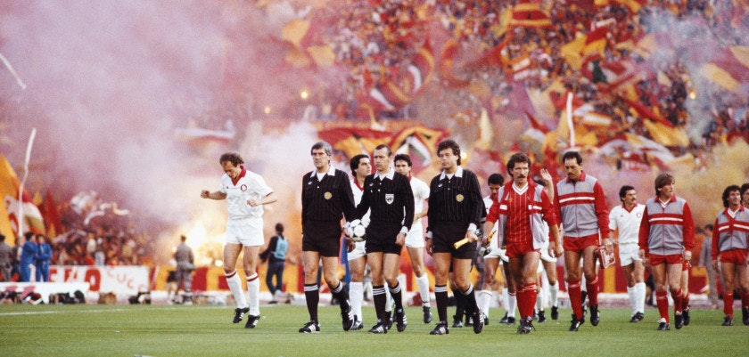 ROME, ITALY - MAY 30:  Liverpool captain Graeme Souness leads his team out before the 1984 European Cup Final between AS Roma and Liverpool, Liverpool winning on penalties after a 1-1 draw aet, at the Olympic Stadium, on May 30, 1984 in Rome, Italy. (Photo by David Cannon/Allsport/Getty Images)