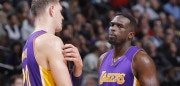 SACRAMENTO, CA - DECEMBER 12: Timofey Mozgov #20 and Luol Deng #9 of the Los Angeles Lakers talk during the game against the Sacramento Kings on December 12, 2016 at Golden 1 Center in Sacramento, California. NOTE TO USER: User expressly acknowledges and agrees that, by downloading and or using this photograph, User is consenting to the terms and conditions of the Getty Images Agreement. Mandatory Copyright Notice: Copyright 2016 NBAE (Photo by Rocky Widner/NBAE via Getty Images)