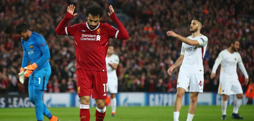 LIVERPOOL, ENGLAND - APRIL 24:  Mohamed Salah of Liverpool celebrates scoring his second goal during the UEFA Champions League Semi Final First Leg match between Liverpool and A.S. Roma at Anfield on April 24, 2018 in Liverpool, United Kingdom.  (Photo by Clive Brunskill/Getty Images)