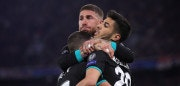 MUNICH, GERMANY - APRIL 25:  Marco Asensio of Real Madrid celebrates with Sergio Ramos and Lucas Vazquez after scoring his sides second goal during the UEFA Champions League Semi Final First Leg match between Bayern Muenchen and Real Madrid at the Allianz Arena on April 25, 2018 in Munich, Germany.  (Photo by Alexander Hassenstein/Bongarts/Getty Images)