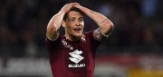 TURIN, ITALY - APRIL 18:  Andrea Belotti of Torino FC reacts during the Serie A match between Torino FC and AC Milan at Stadio Olimpico di Torino on April 18, 2018 in Turin, Italy.  (Photo by Valerio Pennicino/Getty Images)