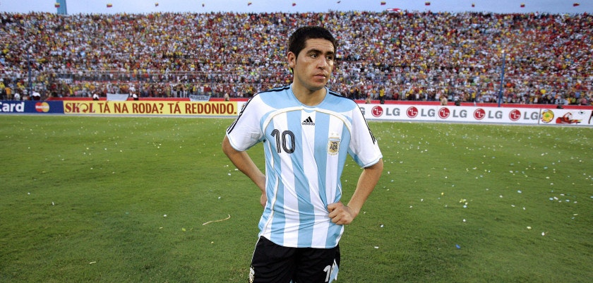 Maracaibo, VENEZUELA: Argentina's football player Juan Roman Riquelme shows his dejection after his team was defeated 3-0 by Brazil in the final match of the Copa America 2007 at the Pachencho Romero stadium in Maracaibo, 15 July 2007.  AFP PHOTO  / JUAN BARRETO (Photo credit should read JUAN BARRETO/AFP/Getty Images)