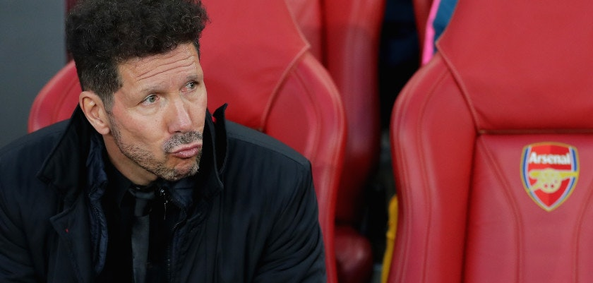 LONDON, ENGLAND - APRIL 26:  Diego Simeone, Manager of Atletico Madrid looks on during the UEFA Europa League Semi Final leg one match between Arsenal FC and Atletico Madrid at Emirates Stadium on April 26, 2018 in London, United Kingdom.  (Photo by Richard Heathcote/Getty Images)