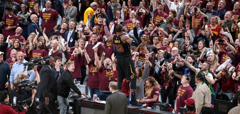 CLEVELAND, OH - APRIL 25:  LeBron James #23 of the Cleveland Cavaliers addresses the crowd after hitting the game winning shot in Game Five of Round One of the 2018 NBA Playoffs on April 25, 2018 at Quicken Loans Arena in Cleveland, Ohio. NOTE TO USER: User expressly acknowledges and agrees that, by downloading and or using this photograph, user is consenting to the terms and conditions of Getty Images License Agreement. Mandatory Copyright Notice: Copyright 2018 NBAE (Photo by Nathaniel S. Butler/NBAE via Getty Images)
