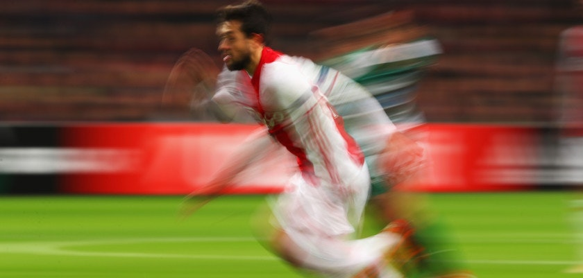 AMSTERDAM, NETHERLANDS - NOVEMBER 24:  Amin Younes of Ajax runs with the ball during the UEFA Europa League Group G match between AFC Ajax and Panathinaikos FC at Amsterdam Arena on November 24, 2016 in Amsterdam, Netherlands.  (Photo by Dean Mouhtaropoulos/Getty Images)
