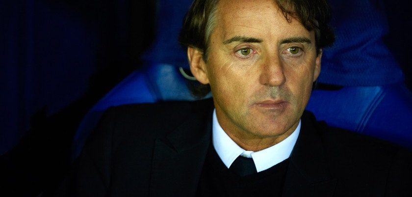 VILLARREAL, SPAIN - NOVEMBER 02:  Head Coach Roberto Mancini of Manchester City looks on before the UEFA Champions League Group A match between Villarreal CF and Manchester City FC at El Madrigal on November 2, 2011 in Villarreal, Spain.  (Photo by Manuel Queimadelos Alonso/Getty Images)