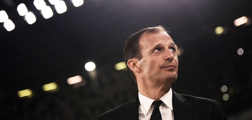 Juventus' coach Massimiliano Allegri looks on during the Italian Serie A football match between Juventus and Napoli on April 22, 2018 at the Allianz Stadium in Turin. (Photo by MARCO BERTORELLO / AFP)        (Photo credit should read MARCO BERTORELLO/AFP/Getty Images)