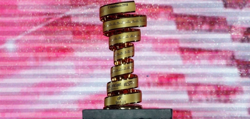 A picture taken on May 3, 2018 shows the Trofeo Senza Fine, the champion's trophy of the Giro d'Italia, on display during the team presentation of the 101st edition of the Tour of Italy championship in Jerusalem. (Photo by LUK BENIES / AFP)        (Photo credit should read LUK BENIES/AFP/Getty Images)