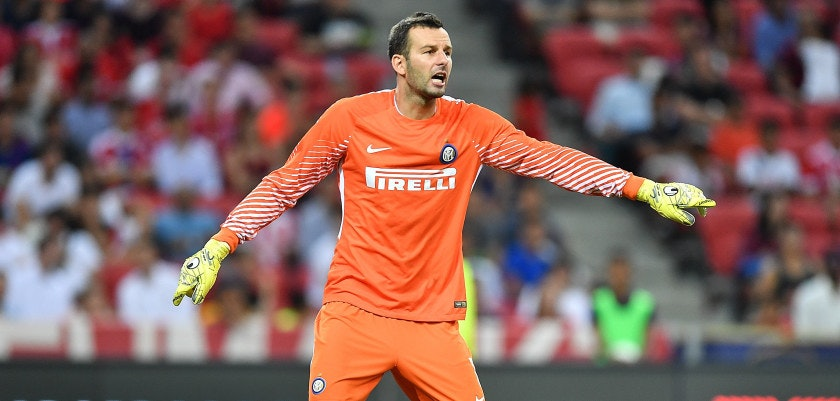 SINGAPORE - JULY 27: Samir Handanovic #1 of FC Interernazionale actions during the International Champions Cup match between FC Bayern Munich and FC Internazionale at National Stadium on July 27, 2017 in Singapore.  (Photo by Thananuwat Srirasant/Getty Images  for ICC)