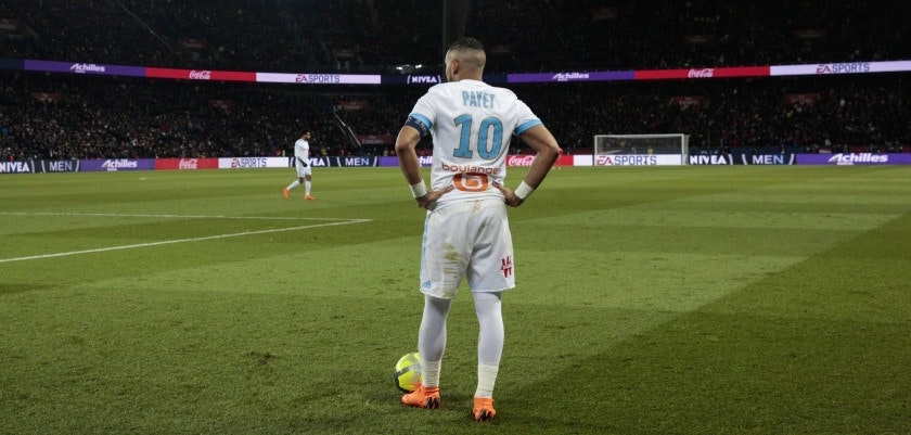 Marseille's French forward Dimitri Payet stands during the French L1 football match between Paris Saint-Germain (PSG) and Marseille (OM) at the Parc des Princes in Paris on February 25, 2018.  / AFP PHOTO / GEOFFROY VAN DER HASSELT        (Photo credit should read GEOFFROY VAN DER HASSELT/AFP/Getty Images)