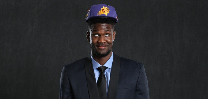 CHICAGO, IL - MAY 15:  NBA Draft Prospect, DeAndre Ayton poses for a portrait before the NBA Draft Lottery on May 15, 2018 at The Palmer House Hilton in Chicago, Illinois. NOTE TO USER: User expressly acknowledges and agrees that, by downloading and or using this Photograph, user is consenting to the terms and conditions of the Getty Images License Agreement. Mandatory Copyright Notice: Copyright 2018 NBAE (Photo by David Sherman/NBAE via Getty Images)