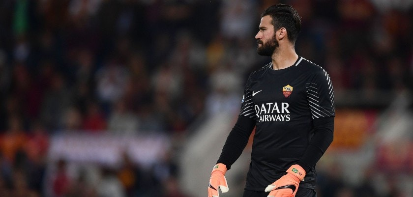 Roma's Brazilian goalkeeper Alisson looks on before the Italian Serie A football match AS Roma vs Juventus at the Olympic stadium on May 13, 2018 in Rome. (Photo by Filippo MONTEFORTE / AFP)        (Photo credit should read FILIPPO MONTEFORTE/AFP/Getty Images)