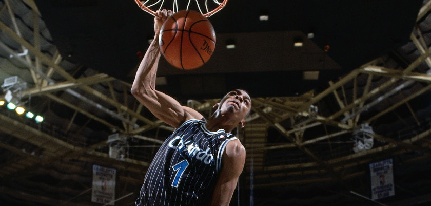 CHARLOTTE, NC - JANUARY 26: Anfernee Hardaway #1 of the Orlando Magic dunks against the Charlotte Hornets circa 1994 at Charlotte Coliseum in Charlotte, NC. NOTE TO USER: User expressly acknowledges and agrees that, by downloading and/or using this photograph, user is consenting to the terms and conditions of the Getty Images License Agreement.  Mandatory Copyright Notice: Copyright 1994 NBAE (Photo by Gregg Forwerck/NBAE via Getty Images)