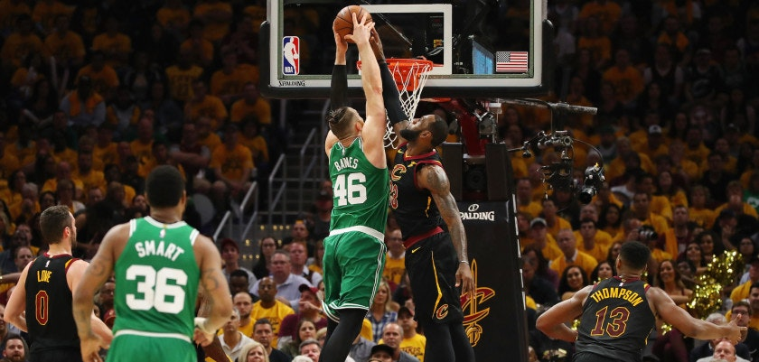 CLEVELAND, OH - MAY 19:  LeBron James #23 of the Cleveland Cavaliers blocks a dunk by Aron Baynes #46 of the Boston Celtics in the first half during Game Three of the 2018 NBA Eastern Conference Finals at Quicken Loans Arena on May 19, 2018 in Cleveland, Ohio. NOTE TO USER: User expressly acknowledges and agrees that, by downloading and or using this photograph, User is consenting to the terms and conditions of the Getty Images License Agreement.  (Photo by Gregory Shamus/Getty Images)