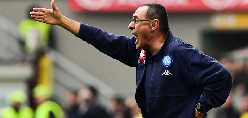 Napoli's Italian coach Maurizio Sarri gestures during the Italian Serie A football match AC Milan vs Napoli at the San Siro stadium in Milan on April 15, 2018.                     stadium in Milan on October 1, 2017. / AFP PHOTO / MIGUEL MEDINA        (Photo credit should read MIGUEL MEDINA/AFP/Getty Images)