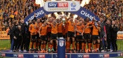WOLVERHAMPTON, ENGLAND - APRIL 28:  Wolverhampton Wanderers celebrate winning the Sky Bet Championship after the Sky Bet Championship match between Wolverhampton Wanderers and Sheffield Wednesday at Molineux on April 28, 2018 in Wolverhampton, England.  (Photo by Richard Heathcote/Getty Images)