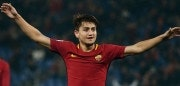 AS Roma's midfielder from Turkey  Cengiz Under celebrates after scoring his second goal during the Italian Serie A football match AS Roma vs Benevento on February 11, 2018, at the Olympic Stadium in Rome.  / AFP PHOTO / Vincenzo PINTO        (Photo credit should read VINCENZO PINTO/AFP/Getty Images)